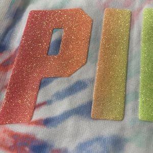 PINK Victoria's Secret Tops - VS Pink Rainbow Glitter Tie Dye Perfect Zip Hoodie